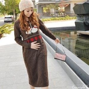 衫皇衫家【UF010446】甜美條紋幾何娃娃裝/大尺碼洋裝/孕婦裝/長袖洋裝(隨機出貨)