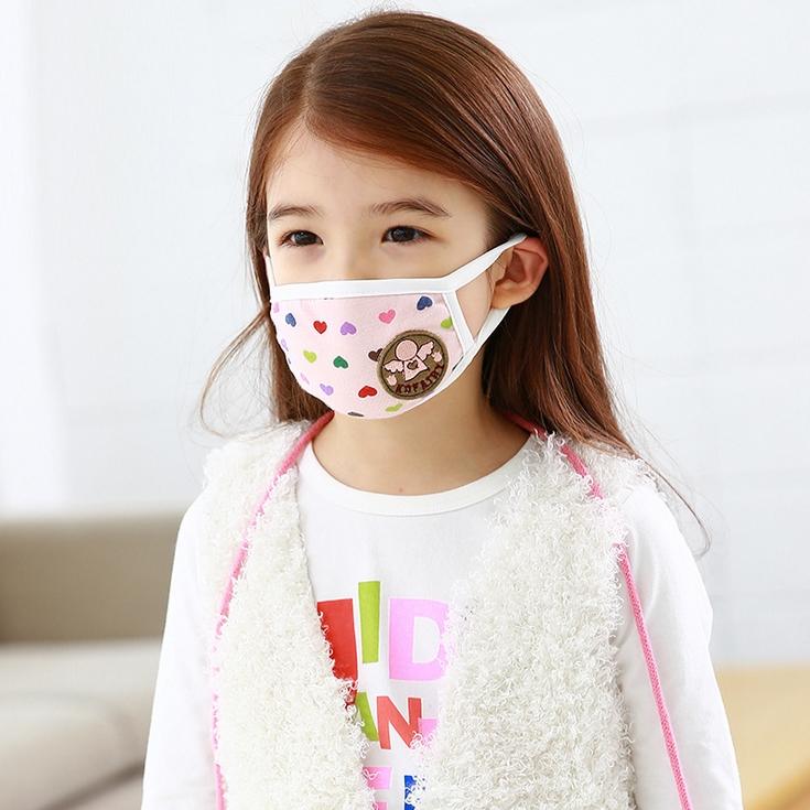 Kofairy◆可愛滿版純色愛心天使螃蟹機器人舒棉防塵口罩-粉色