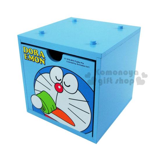 〔小禮堂〕哆啦A夢 積木式抽屜盒《小.藍.大臉.喝茶》可多個推疊