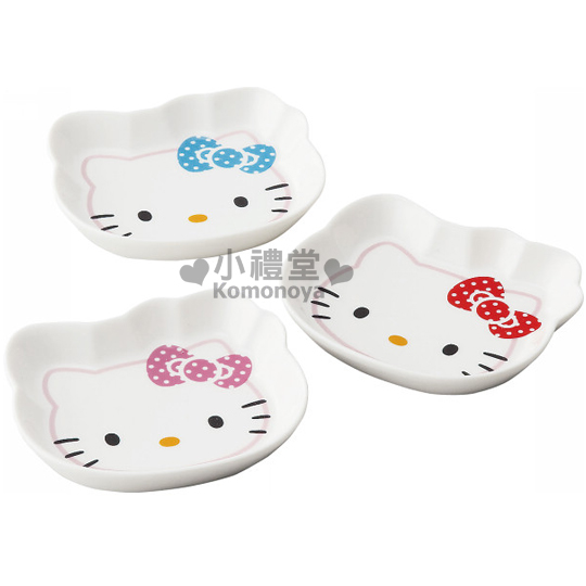 〔小禮堂〕Hello Kitty 下午茶點心盤《3入.KT臉》悠閒時光鬆鬆過