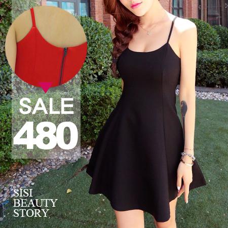 SISI【D6054】甜美質感百搭性感細肩低胸顯瘦縮腰連身裙傘襬無袖背心荷葉裙洋裝小禮服