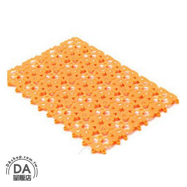 《DA量販店》糖果色 花朵 愛心 夏日 拼接 浴室 止滑墊 防滑墊 橘色(V50-0089)
