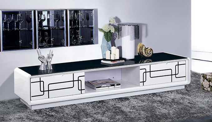 【尚品傢俱】JF-223-1 幾何6.6 尺白色二抽黑玻長櫃