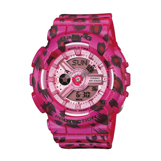 CASIO BABY-G BA-110LP-4A粉紅豹雙顯流行腕錶/紅面43.4mm