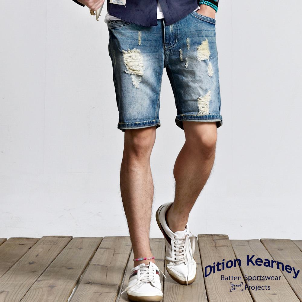 DITION SHOP 復古微刷破JEANS鐵標牛仔短褲