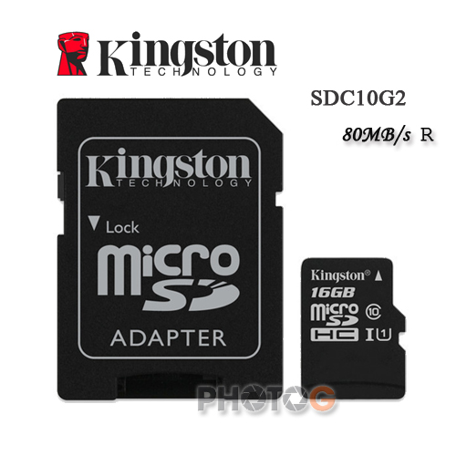 金士頓 Kingston 16G / 16GB microSDHC/SDXC 記憶卡 SDC10G2 – Class 10 UHS-I (寫80mb/s,終身保固)