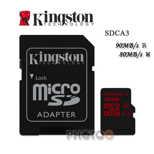 600X Kingston SDCA3 microSDHC / SD 32GB 32G class 10 UHS-I U3 讀90mb/S 寫80mb/s 4K 錄影 Gopro 終身保固