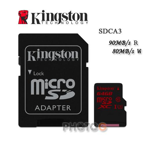 600X Kingston SDCA3 microSDXC / SD 64GB 64G class 10 UHS-I U3 讀90mb/S 寫80mb/s 4K 錄影 Gopro 終身保固