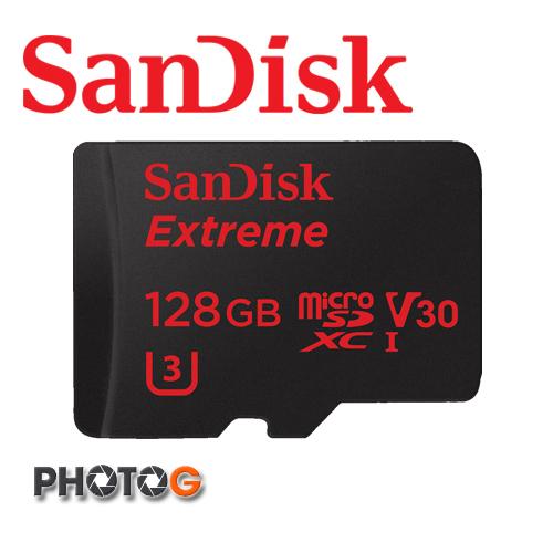 SanDisk Extreme microSD XC V30 U3 128G / 128GB 記憶卡 附SD轉卡 ( class10 600X, 讀:90mb/s 寫: 60mb/s ,公司貨,終身保..