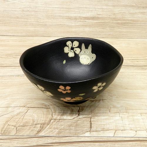 ﹝宮崎駿會館﹞ 15071500068 美濃燒手繪茶碗-和風櫻花黑 龍貓 TOTORO 豆豆龍 茶碗 湯碗 餐具