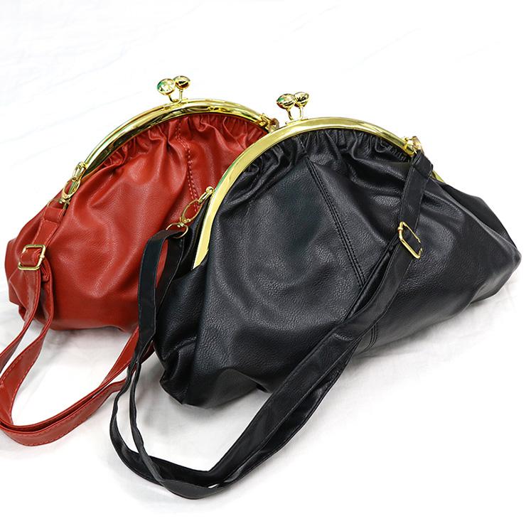 【質衣館】復古珠扣造型肩背包-時尚黑色/熱情橘紅色