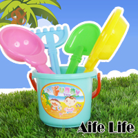 【aife life】沙灘工具五件組/玩沙工具,繽紛色彩夏日玩水的最佳夥伴,親子戶外最佳遊戲
