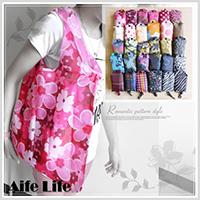【aife life】日系花漾摺疊環保環保袋-附掛勾/摺疊購物袋/肩背包/摺疊收納袋/手提袋/包中包