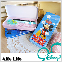 【aife life】迪士尼卡通雙層鉛筆盒/台灣製造/迪士尼正版授權/文具收納/鐵製鉛筆盒/鉛筆袋/收納盒