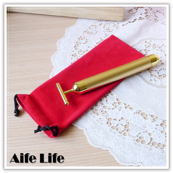 【aife life】24k金T字美顏按摩棒/T字型外銷日本款按摩美顏棒按摩頸部臉部穴道穴位按摩