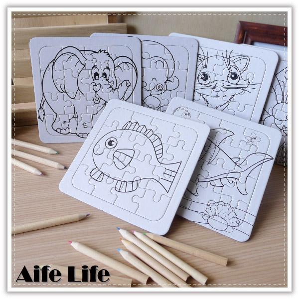 【aife life】卡通空白彩繪拼圖/塗鴉動物水果卡通拼圖/益智拼圖/邏輯思考學習/教育拼圖/著色畫