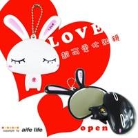 【aife life】日韓可愛兔子旋轉美妝鏡/化妝鏡、隨身鏡、手拿鏡、LOVE兔~甜蜜可愛表情~可掛在包包上