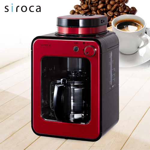 【福利品】【日本Siroca】crossline 自動研磨咖啡機-紅舞伎 STC-408RD