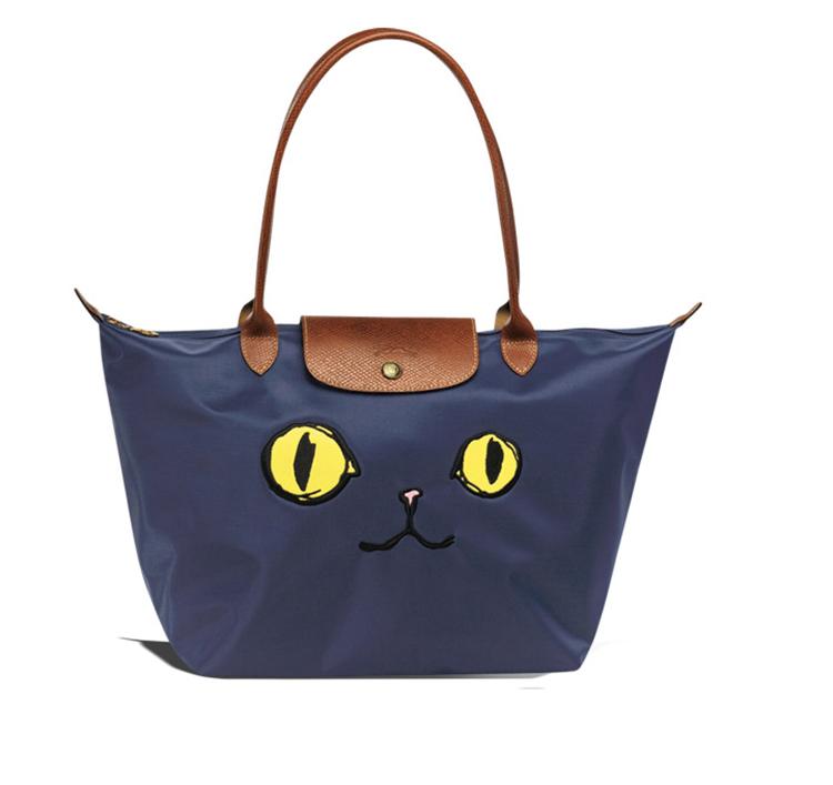 Longchamp 1899 576 610 尼龍材質貓咪款大號手提包兩用包