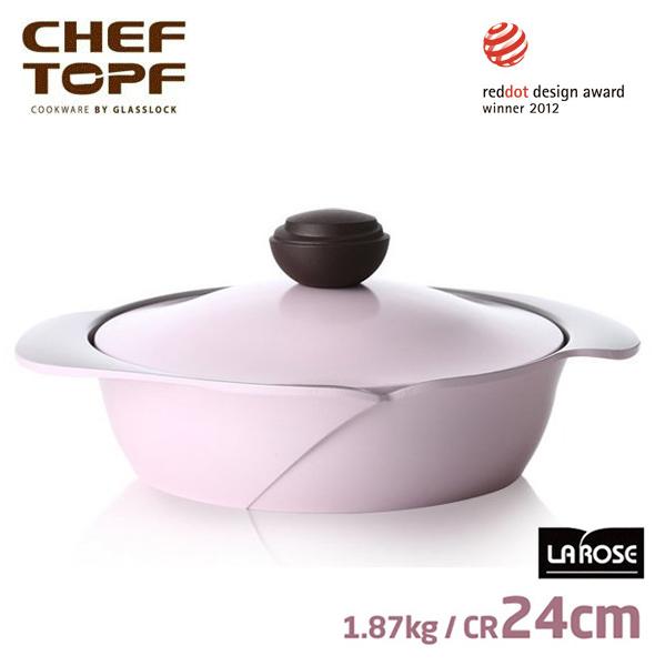 韓國 CHEF TOPF La Rose玫瑰鍋 雙柄淺鍋(同色蓋) 24cm《加送玫瑰鍋專用隔熱套*1個 》
