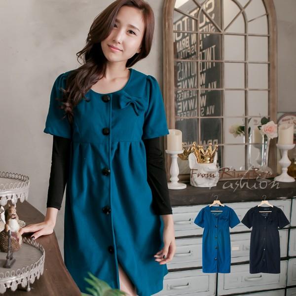 洋裝--可拆式蝴蝶結造型優雅氣質短袖毛呢洋裝/外套(黑.藍2L-5L)-A199眼圈熊中大尺碼