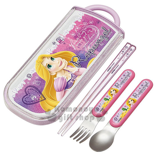 〔小禮堂〕迪士尼 魔法奇緣 日製三件式餐具組《紫.變色龍.文字滿版》盒子滑蓋式開法