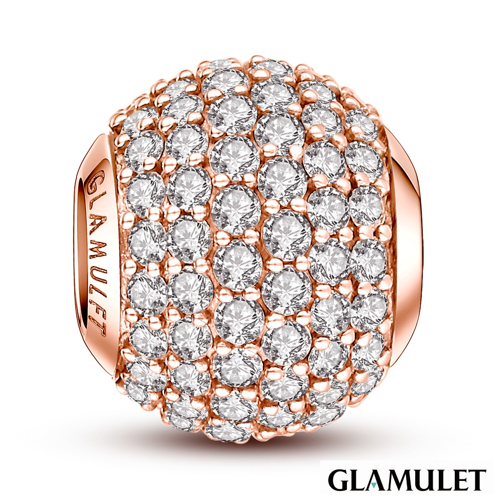 Glamulet格魅麗施華洛世奇水晶手環手鏈串珠復古玫瑰金色滿鑲鑽石charms歐潘朵拉通用
