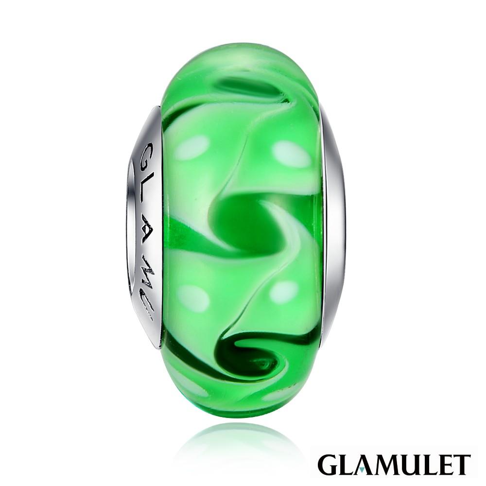 Glamulet格魅麗925純銀水晶綠色風暴琉璃珠