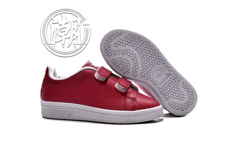 Adidas stan smith 魔鬼氈 史密斯 童鞋 紅色 大童鞋 漸變 學步 透氣 經典 百搭【T0084】潮