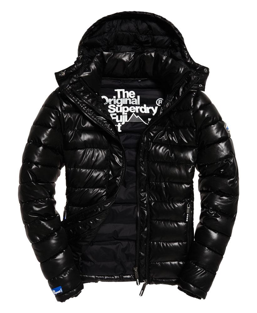 [男款]英國代購 極度乾燥 superdry Fuji 男士保暖 雙拉鍊漆皮休閒雪地加厚夾克外套 黑色