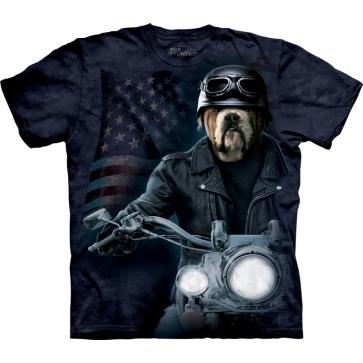 『摩達客』[ 預購 ](大尺碼3X)美國進口【The Mountain】Classic自然純棉系列 犬騎士 藍黑色設計T恤