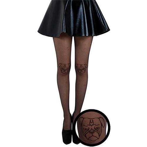 『摩達客』 英國進口義大利製【Pamela Mann】巴哥臉圖紋半透明絲襪彈性褲襪