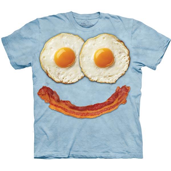 【摩達客】(預購)美國進口The Mountain 煎蛋培根臉 純棉環保短袖T恤
