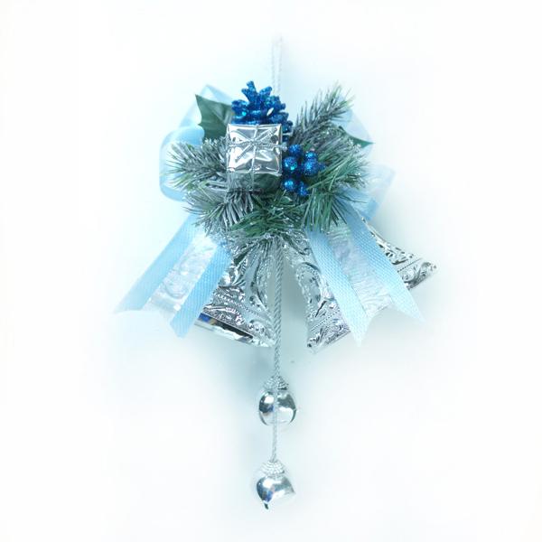 『摩達客冬季生活限定』4吋雙花鐘吊飾 (藍銀色)