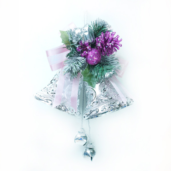 『摩達客冬季生活限定』4吋雙花鐘吊飾(銀紫色)