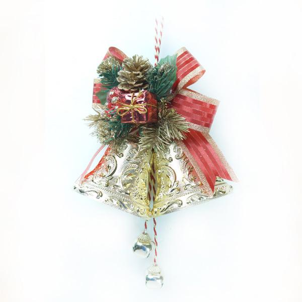 『摩達客冬季生活限定』4吋雙花鐘吊飾 (紅金色)