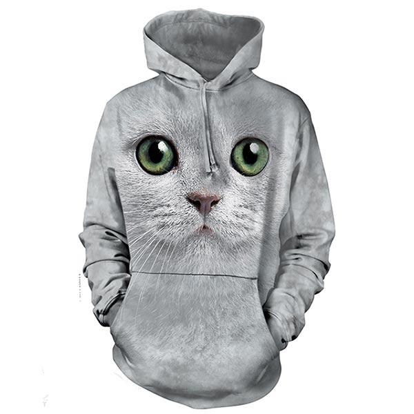 『摩達客』(預購)美國進口【The Mountain】綠眼貓臉 長袖連帽T恤