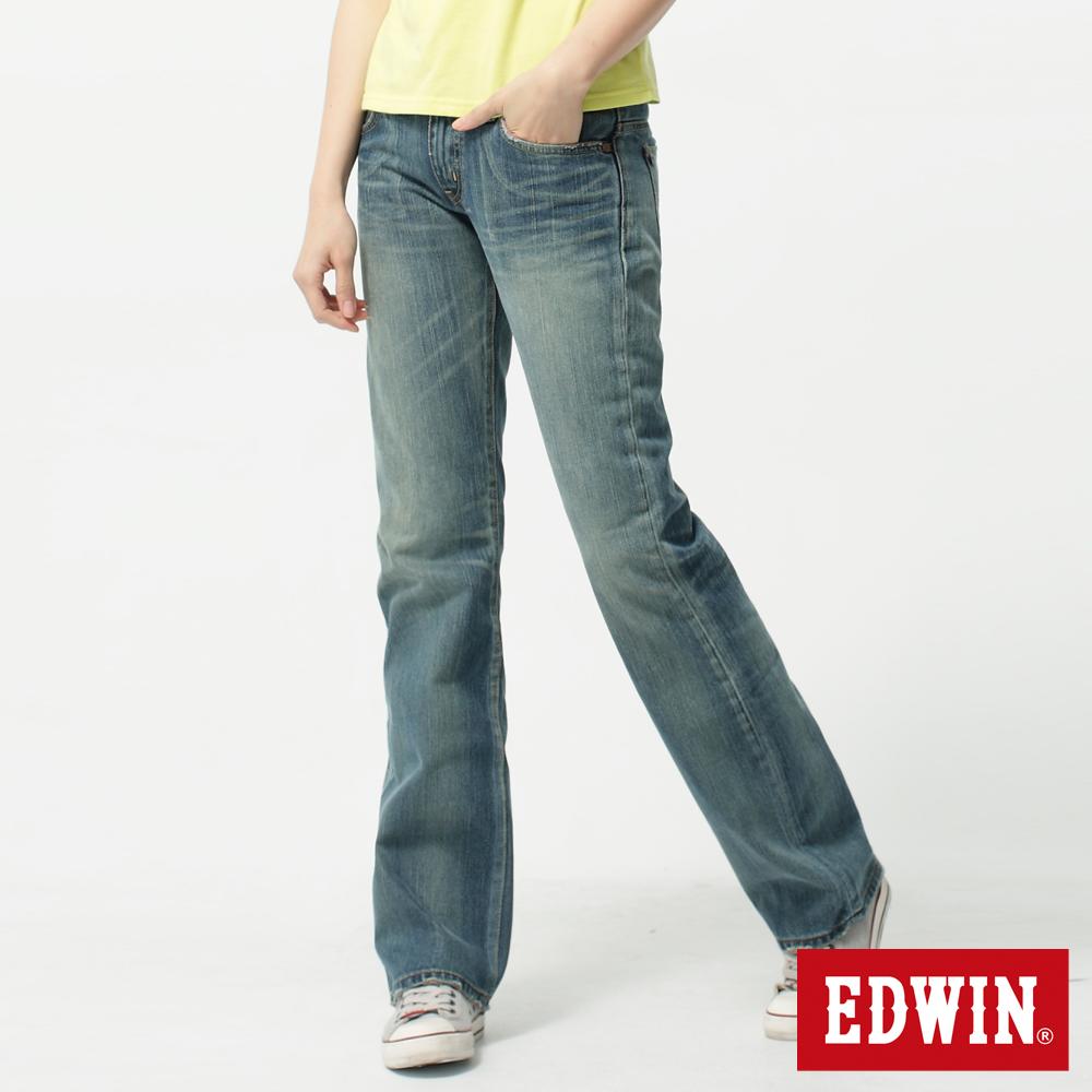 【990元優惠↘】Miss EDWIN 503 RV純棉中直筒牛仔褲-女-拔洗藍