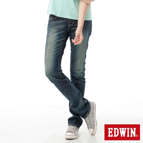 【990元優惠↘】EDWIN Miss 503 EDGE LINE 雙W鏡射繡花口袋 窄直筒牛仔褲-女款 石洗復古藍