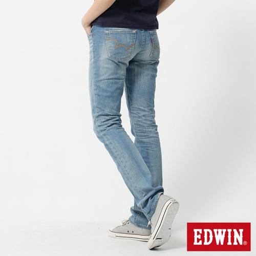 【990元優惠↘】EDWIN Miss 503 EDGE LINE 雙W鏡射繡花口袋 窄直筒牛仔褲-女 石洗漂淺藍