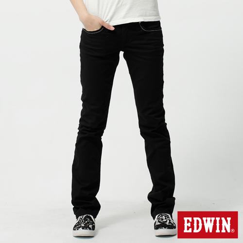 【990元優惠↘】EDWIN Miss 503 EDGE LINE 雙W鏡射繡花口袋 窄直筒牛仔褲-女款 黑色