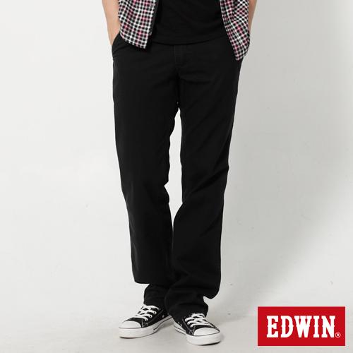 【990元優惠↘】EDWIN 皮口袋基本款休閒長褲-男款 黑色