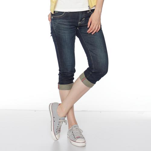 【990元優惠↘】Miss EDWIN BLUE TRIP 麂皮後口袋七分牛仔褲-女款 酵洗藍