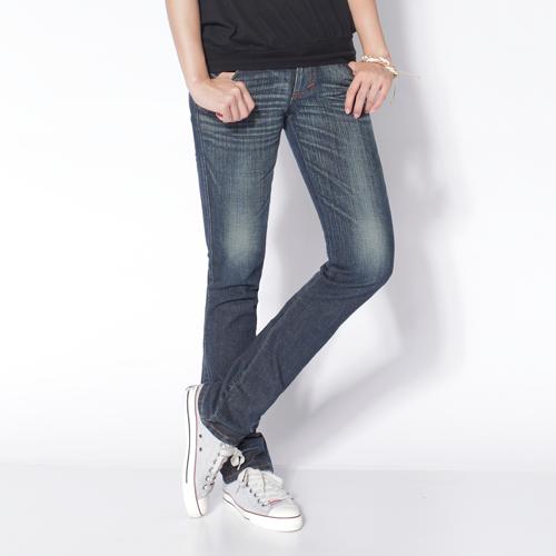 【990元優惠↘】Miss EDWIN EDGE LINE袋蓋小直筒牛仔褲-女款 中古藍