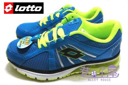 【巷子屋】義大利第一品牌-LOTTO樂得 大童大氣墊亮彩跑鞋 [1086] 藍 超值價$590