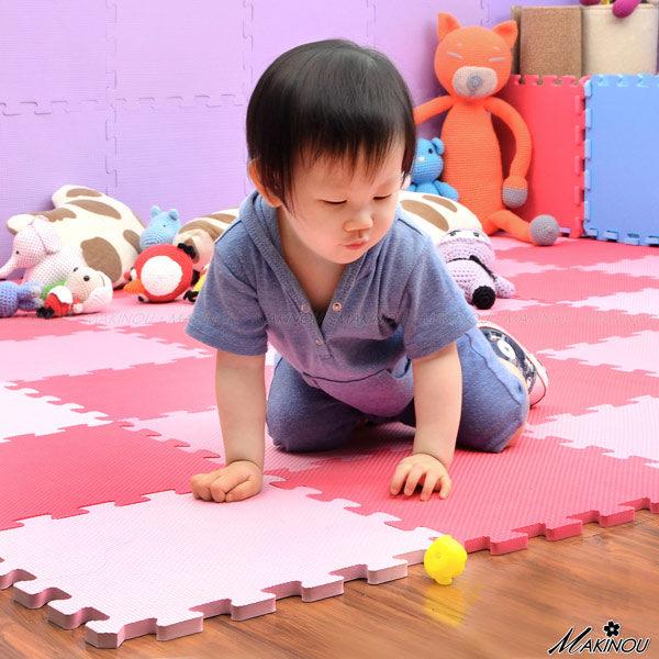 SGS認證 保暖 無毒無甲醯胺 軟墊『日本MAKINOU-彩色素面巧拼地墊6入』台灣製 嬰幼兒爬行 牧野MAKINOU