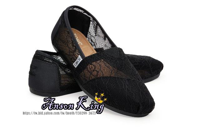 [女款] 國外代購TOMS 帆布鞋/懶人鞋/休閒鞋/至尊鞋 蕾絲系列 透花網紋 黑色
