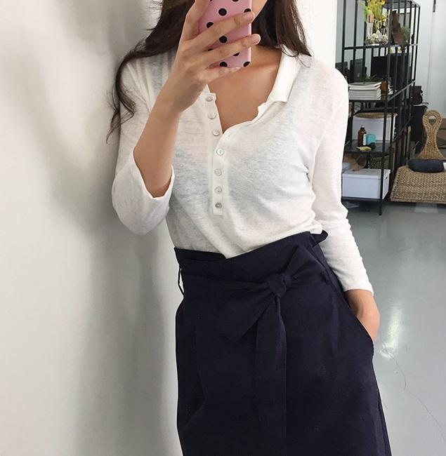 PS Mall 秋季韓版百搭修身顯瘦簡約亞麻多扣翻領T恤衫上衣【T2549】