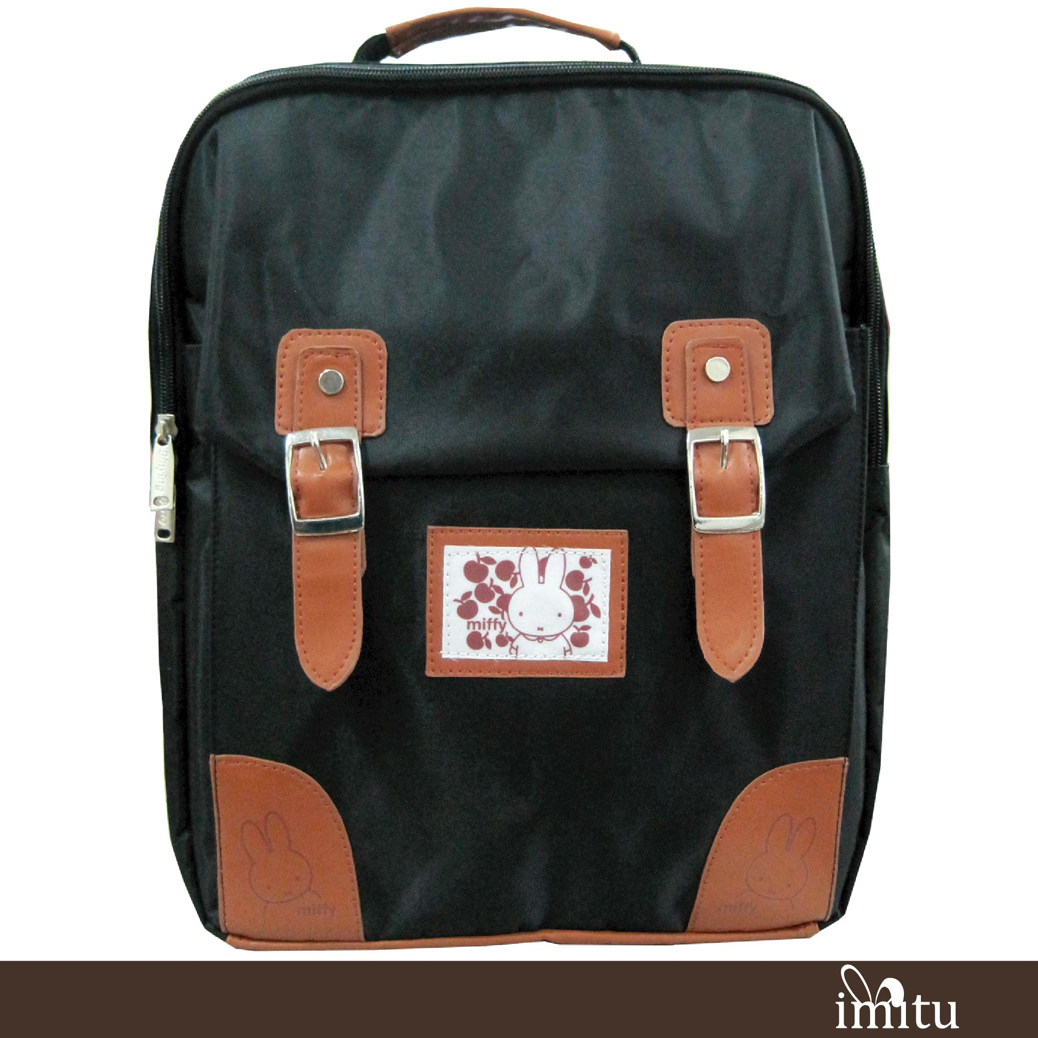 imitu 【Miffy 米飛】超輕巧護脊格紋護脊後背包(暗夜黑MI-5609)