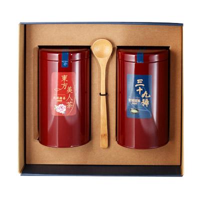 《好客-39號北埔擂茶》精品禮盒組 兩罐裝(300克擂茶粉+東方美人茶2兩)(免運商品)